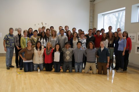 The entire group in Dittman for their exhibition upon their return. (Photo courtesy Christie Hawkins/John Saurer)