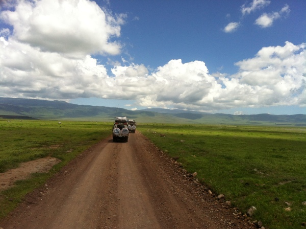 View from our safari car in the Ngorongoro Crater and Conservation Area right outside of the Serengeti